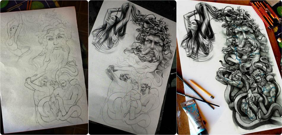 Разработка эскиза татуировок